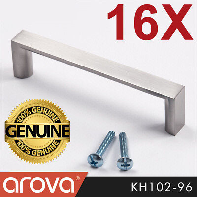 16X 96mm Square Handle Pull Kitchen Cabinet Cupboard Door Stainless Steel Finish