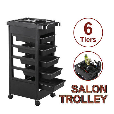 Hairdresser Spa Multifunction 6 Tiers Hair Salon Trolley Rolling Storage Cart