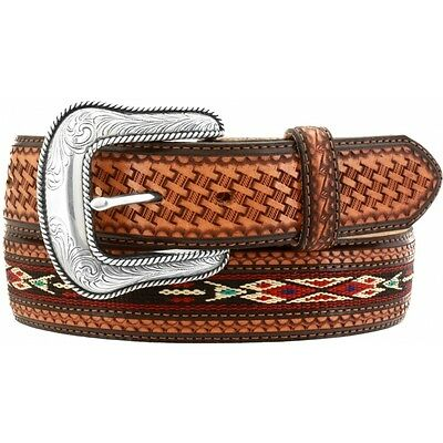 Justin Wild Colt Embossed Leather Belt with Silver Conchos C12573