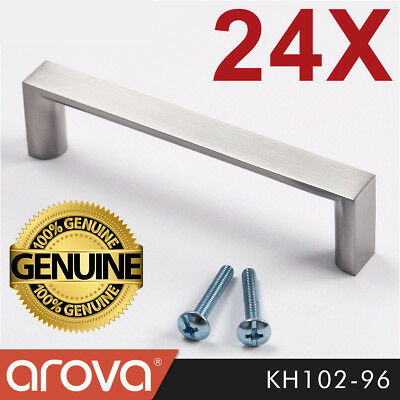 24X 96mm Square Handle Pull Kitchen Cabinet Cupboard Door Stainless Steel Finish