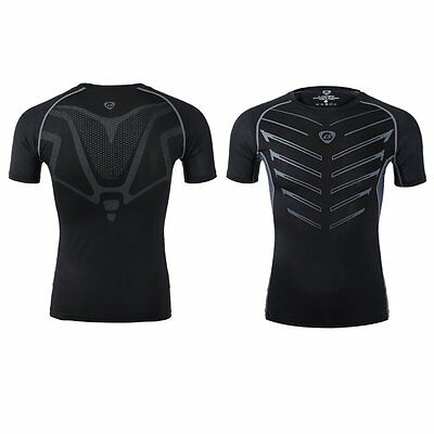 Men Compression Under Base Layer Top Tight Short Sleeve Fitness Athletic T-Shirt