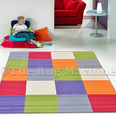 KIDS CLUB COLOURFUL PASTEL SQUARES DESIGN FUNKY FUN FLOOR RUG 160x225cm **NEW**