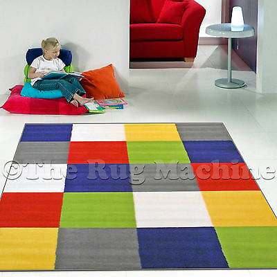 KIDS CLUB COLOURFUL PRIME SQUARES DESIGN FUNKY FUN FLOOR RUG 120x170cm **NEW**