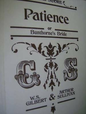 Patience Or Bunthorne's Bride Vocal Score Gilbert & Sullivan Music Book