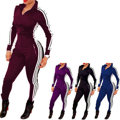 New Sporty Fashion Wild Solid Color One Piece Zipper Tight Sport Jumpsuits