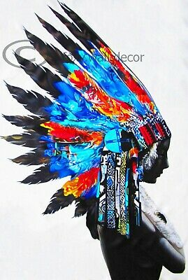 A1 street art PRINT INDIAN BLUE FEATHER NATIVE AMERICAN  POSTER WALL DECOR