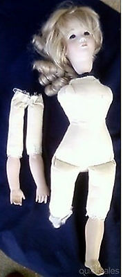 Pretty Rag/bisque doll - not complete 51 cm tall