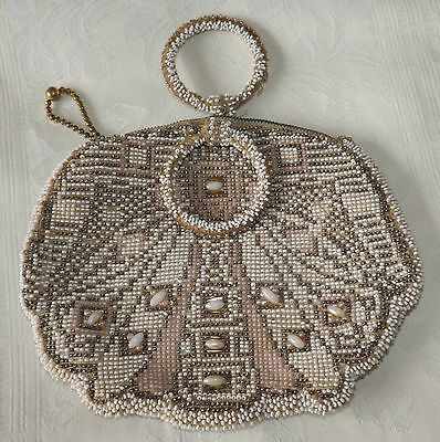 VINTAGE  BEADED EVENING PURSE with COMB
