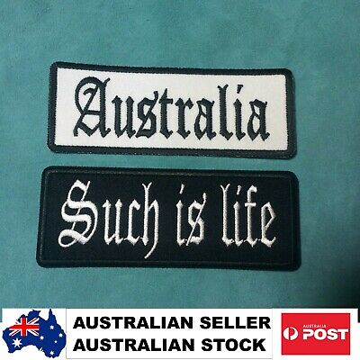 Biker Patches AUSTRALIA + SUCH IS LIFE Mens Leather Vest Sew/Iron Motorcycle