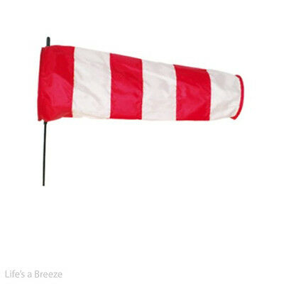 Red and White Directional Windsock with Stake. Small