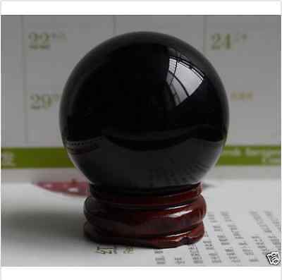 40MM + Stand Exquisite Natural Black Obsidian Sphere Large Crystal Ball
