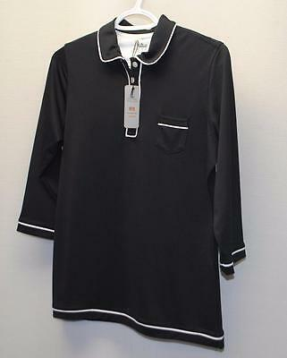 New Ladies Peter Millar E4 polyester spandex Black 3/4 sleeves golf shirt Small