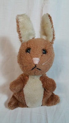 Vintage Dakin Small 1975 Brown Bunny Rabbit Stuffed Plush Ground Nutshells Korea