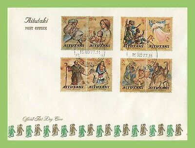 Aitutaki 1977 Christmas surcharged set on First Day Cover