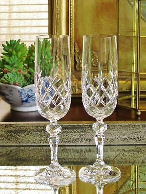 Elegant pair of BOHEMIA crystal Flamenco Champagne Flutes. New