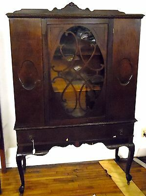 "Antique 68"" Mid-Century Solid Dark Wood Wheeled China Cabinet Hutch"