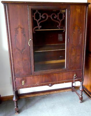 "Beautiful Early Mid-Century 60"" Antique Solid Wood China Cabinet/ Hutch"