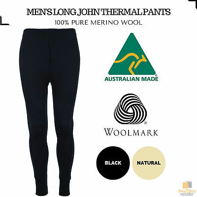 Men's 100% Pure Merino Wool Thermal Long Johns Pants Warm Underwear Thermals New