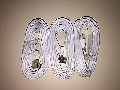 3X 10 FT Cable White USB Data Cord for iPhone 8 7 6S 5S 6 6+ plus Sync Charging