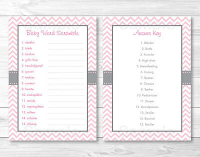 picture about Printable Baby Word Scramble referred to as Revolutionary Red CHEVRON Printable Little one Shower \