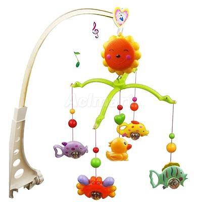 5Pcs Fish Crab&Duck Baby Crib Mobile Music Bed Bell Toys with Holder Bracket