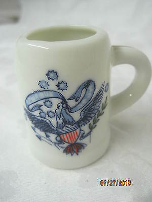 Vintage miniature porcelain Beer Stein Toothpick Holder blue & white Eagle