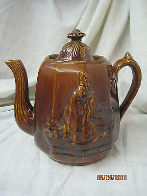 Antique Rockingham Bennington Teapot Coffeepot Rebecca at the Well Stoneware
