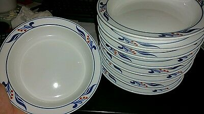 Dansk Bistro Maribo Berries Blue Red Rim Soup Cereal Bowls Set 7 Portugal 7 7/8""