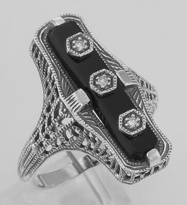 Art Deco Style Black Onyx Filigree Ring with 3 Diamond Accents - Sterling Silver