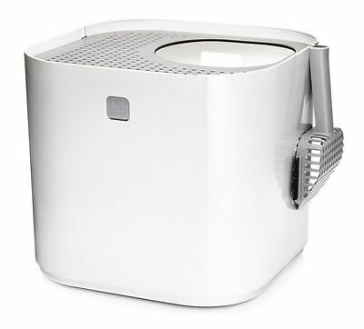 Modern Cat Easy to Clean Litter Enclosure White Box. Prevents Litter Tracking
