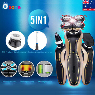 New 5D Mens Electric Razor Rotary Shaver Cordless 360° Haricut & Nose Trimmer