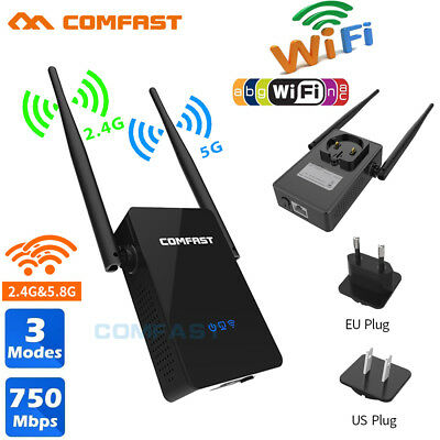 750Mbps Dual Band 2.4/5G Wireless WiFi Repeater 802.11AC Router Extender EU Plug