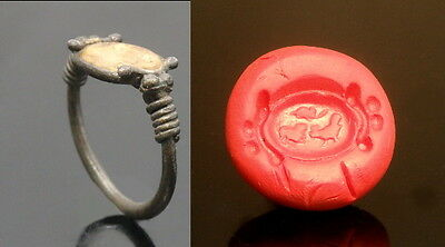 Roman Silver Glass Intaglio Ring With Incised Animals (K432)