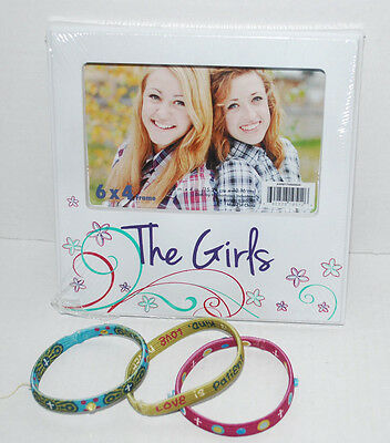 The Girls Picture Frame 6x4 Photo & LOT 3 Stretchy Christian Bracelets Jewelry