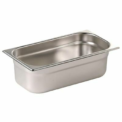 Vogue Stainless Steel 1/3 Gastronorm Pan 200mm Kitchen Container Food Storage