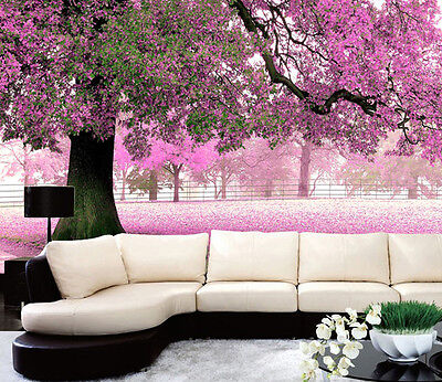 3D Pink Forest Tree Wall Paper Wall Print Decal Wall Deco Indoor Murals