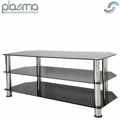 """AVF Universal Black Glass and Chrome Legs TV Stand For up to 55"""" TVs"""