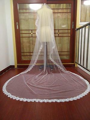 New 3M Long Ivory 1T Lace Edge Bridal Wedding Veil Without Comb