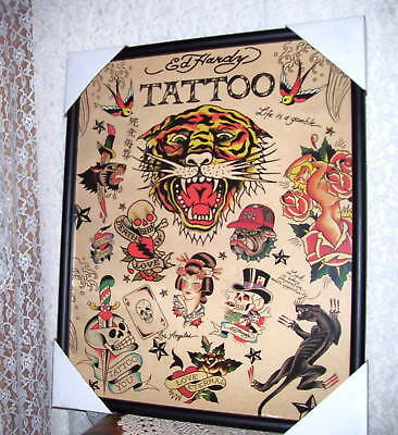 "FRAMED PRINT ED HARDY TATTOO  17"" x 21"""