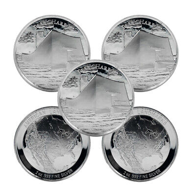 2 oz Elemetal Pearl Harbor Ultra High Relief Silver Round (New, Lot of 5)