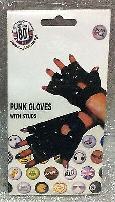 Carnevale Halloween Guanti Neri Ecopelle Borchie Black Gloves With Studs Punk