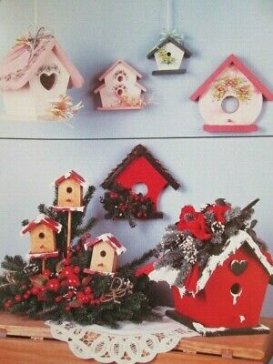 A Feathered Nest Painting Book Decorated Birdhouses- US Patriotic Flowers Winter