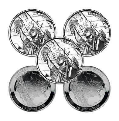 2 oz Elemetal Liberty Island Ultra High Relief Silver Round (New, Lot of 5)