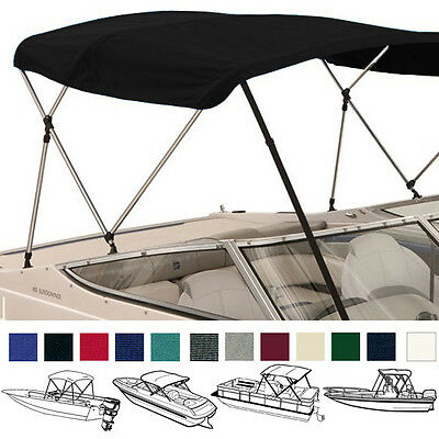 "Bimini Top Boat Cover Black 3 Bow 72""l 54""h 79"" - 84""w -  W/ Boot & Rear Poles"