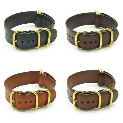 StrapsCo Vintage Leather Watch Band Strap with Heavy Duty Bronze Rings