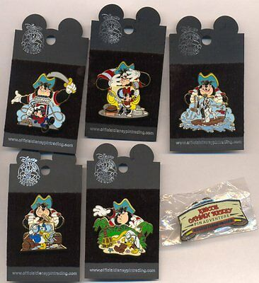 Disney Cruise Line Rescue Captain Mickey 6 Pin Set with Map Card DCL LE Pins