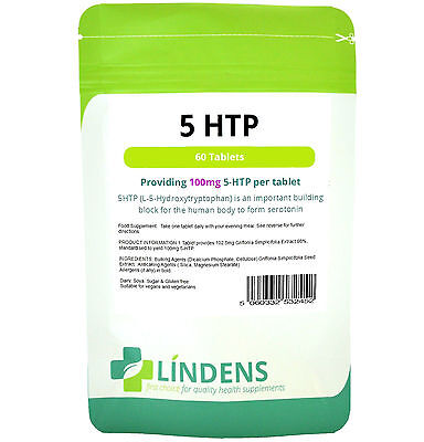 5-HTP 100mg x 60 Tablets Antidepressant Anxiety Insomnia Supplement LINDENS