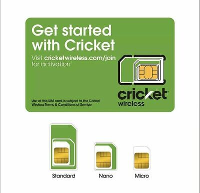 NEW CRICKET 4G LTE NANO SIM CARD 4FF Good For Activation SKU: SGMN4004