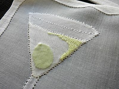 Fizzy MARTINI w/ OLIVE Vtg Madeira Hand Embroidery 6 Cocktail Napkins Organdy