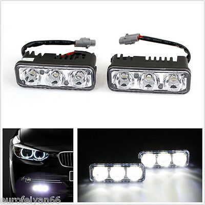 2 Pcs 3-LED 9W Super Bright White Autos SUV Daytime Running Lights DRL Fog Lamps